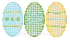 296 Easter Egg Trio Machine Embroidery Applique Design
