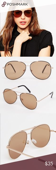 Aviator With Flat Lens And Block Frame Slim metal frame with a double bridge design Adjustable silicone nose pads for added comfort Teardrop shaped light tinted lenses Curved temple tips for a secure fit Total UV Protection Asos Accessories Sunglasses