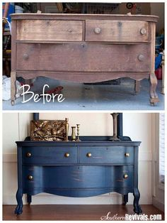 DIY ~ 1800's Dresser Transformation Tutorial ~ Lots of before and after picks and good instructions to get this look ~ From Southern Revivals. Looove the blue