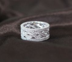 Unique Eternity Band 1.05CT Diamond Solid 14K White Gold Women Mens Wedding Ring on Etsy, $899.00