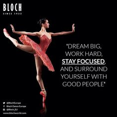 Dream Big, Word Hard and Stay Focused #ballet #pointeshoes #mistycopeland #enpointe #quotes