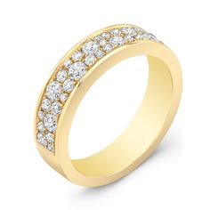 This particular design features two rows of round cut white diamonds that have been pave set into a polished 18k gold band.