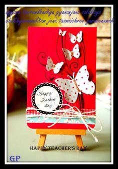 My birthday. Handmade Teachers Day Cards, Teachers Day Card Design, Teachers Day Greeting Card, Teachers Day Gifts, Teacher Cards, Handmade Birthday Cards, Greeting Cards Handmade, Card Making Tutorials, Teachers' Day