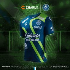 Tercera camiseta del Club Puebla 2018 Sport Shirt Design, Sport T Shirt, Football Outfits, Football Jerseys, Club Puebla, Camisa Retro, Sports Uniforms, International Football, Uniform Design