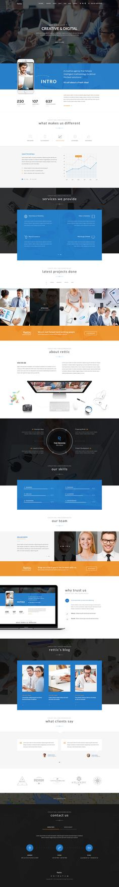 Buy Rettic - Multipurpose PSD Template by Templines on ThemeForest. Rettic is a Modern, Unique and Multipurpose One-Page Business PSD Template for Creatives which suits any Corporate, . Web Design Inspiration, Design Ideas, Homepage Web, Clean Websites, Website Designs, Web Layout, Ui Ux Design, Psd Templates, Simple