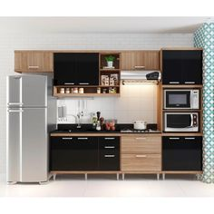 Cozinha Compacta Aéreos Armário para Forno/Micro-ondas e Balcões para Pia/Cooktop Argila/Preto - Multimóveis com o melhor preço é no Walmart!