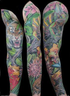 16926 Rainforest Back Piece Tattoo Pelautscom Tattoo Design Gecko Tattoo, Arm Tattoo, Sleeve Tattoos, Tattoo Sleeves, Forest Tattoos, Nature Tattoos, Wolf Tattoos, New Tattoos, Tatoos