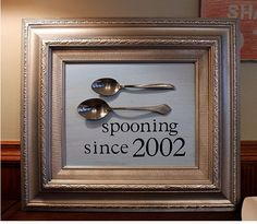 A couple spoons and a frame are all you need to make your life partner laugh on your anniversary. | 23 Silly DIY Projects That Will Make You Laugh Out Loud