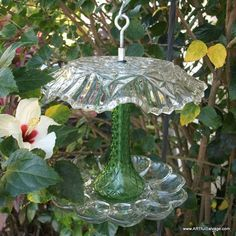 Image result for bird feeders made from glassware