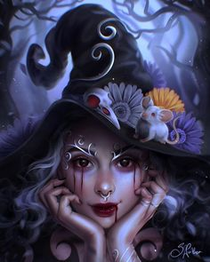 SUBMISSION SUNDAY // Digital painting by @sandrawintherart⁣ .⁣⁣ Tag us to be considered for inclusion in our 'Join the Tribe' community feature in Beautiful Bizarre Magazine + each Sunday our Social Media Manager @caitlyn_gregson chooses her... Dark Fantasy, Fantasy Art, Hands To Myself, The Worst Witch, Witch Art, Gothic Art, Halloween Art, Magazine Art, Dark Art