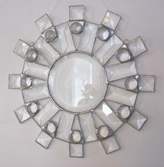 Sunburst Clear Beveled Stained Glass Suncatcher by Nanantz on Etsy, $65.00