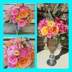 Pinks, corals, oranges with a pop of turquoise. Wedding by Fleurt Floral Art @bellefleure #flowers