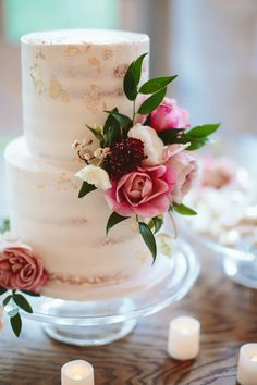 Elegant gold flecked semi naked cake with pretty pink blooms ~ we ❤ this! moncheribridals.com