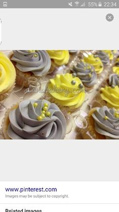 yellow and grey cupcakes