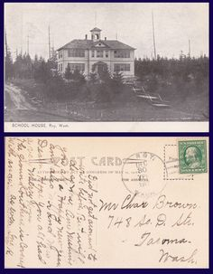 US School House Roy Washington Posted to Tacoma in 1912 | eBay  My Mom, Dad, and sisters went to school there.