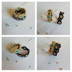 "Flexible ring ""hexa"", to use alone or in two . Beaded Jewelry Patterns, Beading Patterns, Beaded Rings, Beaded Bracelets, Beaded Crafts, Diy Rings, Handmade Rings, Bijoux Diy, Wire Wrapped Rings"
