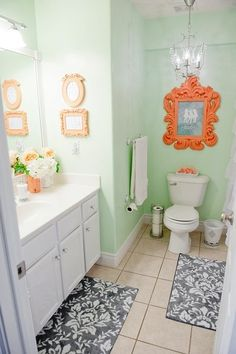 Mint U0026 Coral Bathroom  This Type Of Color Scheme For Nursery. Gray U0026 White  Neutrals For Bedding U0026 Chair, Mint Wall U0026 Rug, Coral Accents.