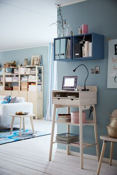 home office desks ikea - Home Office Desks Ikea - Desk Decorating Ideas On A Budget, home office furniture ideas ikea Mesa Home Office, Home Office Desks, Home Office Furniture, Ikea Office, Pipe Furniture, Furniture Vintage, Furniture Design, Furniture Storage, Modern Furniture