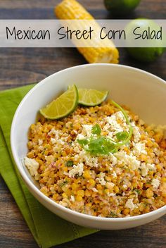 *PERFECT FOR CINCO DE MAYO* Roasted Mexican Street Corn Salad - A crunchy and spicy salad with just a bit of creaminess. Can be served warm or cold. Mexican Dishes, Mexican Salad Recipes, Corn Salad Recipes, Mexican Salads, Mexican Street Corn Salad, Corn Salads, Vegetarian Recipes, Healthy Recipes, Cooking Recipes