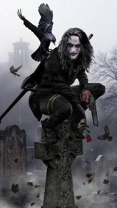 The Crow movie crow Dark Fantasy Art, Dark Art, Crow Movie, Bd Art, Crow Art, Joker Wallpapers, Iphone Wallpapers, Comic Kunst, Arte Horror