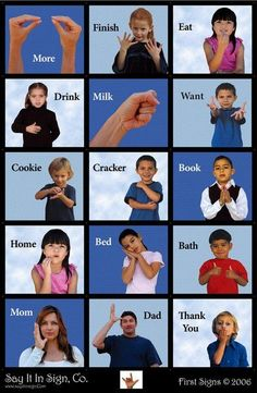 This is an ASL (American Sign Language) poster made with lenticular graphics. When you walk pass the poster or look at it and lean left to right the images change/move - showing you how to make the signs. Its a fun way to learn some basic signs in ASL. Sign Language Words, Sign Language Alphabet, Learn Sign Language, American Sign Language, Speech And Language, Baby Sign Language Chart, Sign Language For Baby Toddlers, Teaching Baby Sign Language, Baby Language