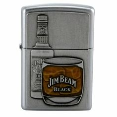 Zippo - Satin Chrome, Jim Beam Bottle Emblem by Zippo. $124.84. Features a satin chrome finished lighter with Jim Bottle and glass.