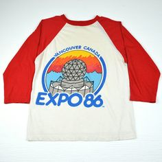 daa357930 1986 vintage quarter sleeve Vancouver Canada EXPO t-shirt. Very good  condition, faded