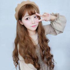 Cute Long and Wavy Candy Brown Chestnut Wig Brown Hair Korean, Asian Hair, Wig Styles, Curly Hair Styles, Kawaii Wigs, Hair Color Streaks, Candy Brown, Curly Bangs, Girl With Brown Hair