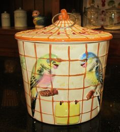 Vintage Cookie Biscuit Jar Ceramic Cookie Cage Parakeet Budgie Birds Figural #Unknown