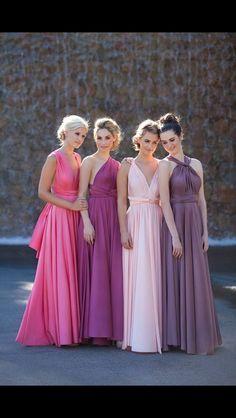 Pink and purple bridemaid dresses