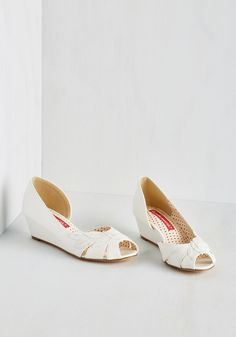 Two Can Play Bliss Game Wedge in White. Team up with these white wedges by Bait Footwear for a look thatll have you smiling from ear to cheer! #white #wedding #modcloth