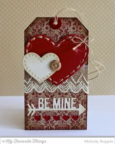 Damask Background, Stitchable Heart STAX Die-namics, Straight to My Heart Die-namics, Tag Builder Blueprints 3 Die-namics - Melody Rupple #mftstamps