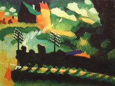 "Wassily Kandinsky. Murnau View With Railway And Castle,  Wassily Kandinsky. Murnau View With Railway And Castle. 1909 year Murnau View With Railway And Castle 1909 Oil on cardboard 14.2 × 19.3"" (36.0 × 49.0 cm) Munich, Germany. Lenbachhaus Gallery"