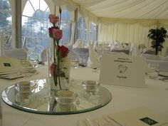 Wedding Centre Pieces - Ballintaggart Hse Marquee Wedding, Wedding Venues, Centre Pieces, Wedding Centerpieces, Table Decorations, Furniture, Home Decor, Wedding Places, Wedding Center Pieces
