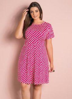 Vestido Evasê (Estampa de Corações) Plus Size