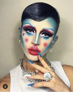Fucking look kween💗 Drag Queen Makeup, Drag Makeup, Male Makeup, Clown Makeup, Makeup Art, Halloween Makeup, Beauty Makeup, Maquillage Horrible, Makeup Inspo