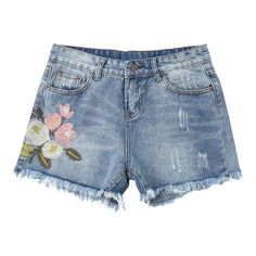 Embroidered Ripped Cutoffs Denim Shorts Denim Blue S ($27) ❤ liked on Polyvore featuring shorts, bottoms, pants, blue jean shorts, distressed shorts, ripped shorts, ripped jean shorts and destroyed denim shorts
