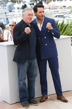 16 May Robert de Niro posed with Edgar Ramirez for the Hands of Stone photo call. Ramirez was wearing brown lace-ups by Kurt Geiger.   - HarpersBAZAAR.co.uk