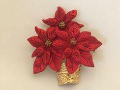 5d30d560635 JONA Signed Red Enamel Basket of Poinsettia Flowers BROOCH PIN Costume  Jewelry #Jona