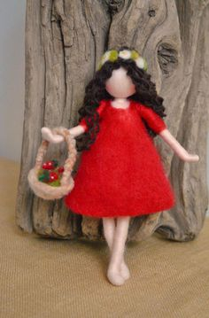 Items similar to Wool Doll Home decor needle felted /Room Decoration /Home Ornament: Girl with strawberries on Etsy Wool Dolls, Felt Dolls, Hedgehog Craft, Felt Angel, Doll Home, Felt Fairy, Needle Felted, Childrens Room Decor, Waldorf Dolls
