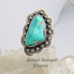 Sleeping Beauty Turquoise & Sterling Silver ADJUSTABLE Ring