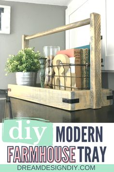 Display your favorite decorative items in the modern farmhouse wood tray and put it on your kitchen table, coffee table or any place that could use some farmhouse charm. Make this wood tray easily from scrap wood. #diy #farmhouse #farmhousetray Home Decor Items, Cheap Home Decor, Diy Home Decor, Diy Furniture Projects, Diy Wood Projects, Wood Crafts, Farmhouse Style Decorating, Farmhouse Decor, Diy Crafts To Do