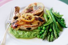 Baked lemon chicken with ricotta and spring vegetable puree main image