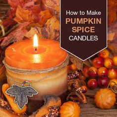 DIY Pumpkin Spice Candle This pumpkin spice candle will get you in the mood for fall! Stock up on supplies, and make a few for gifting this season! How To Make Pumpkin, Diy Pumpkin, Candle Containers, Candle Jars, Glass Jars, Candleholders, Mason Jars, Diy Marble, Pumpkin Spice Candle
