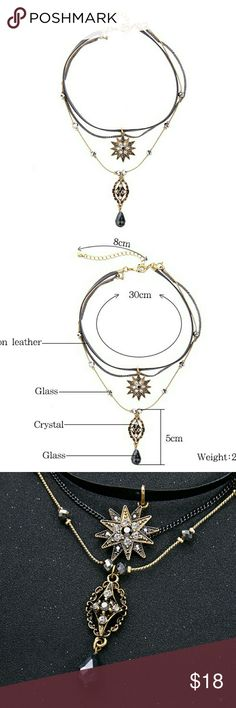 Glass crystal tiered boo necklace star pendant Brand new in original packaging. Bundle and save. Jewelry Necklaces