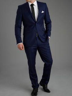 Enlarge ASOS Slim Fit Suit in Blue Herringbone | Lafness Groom and