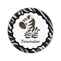 Cute personalized cartoon Zebra glitter animal print rounds stickers - Personalized stickers with a cute and stylish black digital glitter zebra animal print on a white sparkle background with a beautiful whimsical little zebra. These elegant chic stickers make a fun unique bespoke gift for teens, girls and women of all ages. PLEASE NOTE: All products on Zazzle have flat printed images. Text, font and color of font are all customizable. If you need assistance customizing your product please…