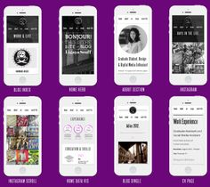 Various Mobile layouts for Ligaya Scaff's CV site - by SoSweet! Connection