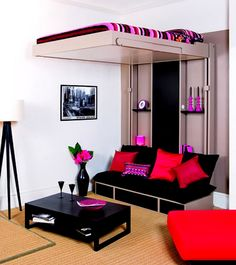 Enchanting Bedroom Design for Young Adults Girls with White Wall Paint Color and Floor Lamps