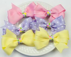Spring Hair Bows for Girls  Baby Hair Barrettes by SheWearsitWell, $17.00